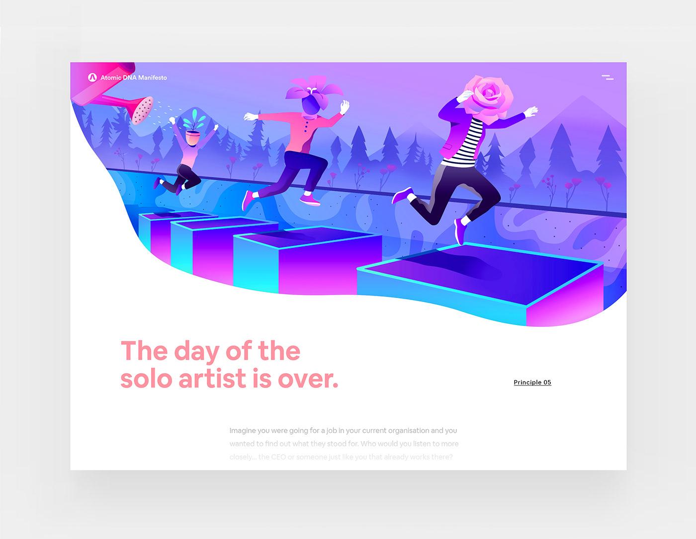 design inspiration creative Web futuristic Layout gradient flat characters business