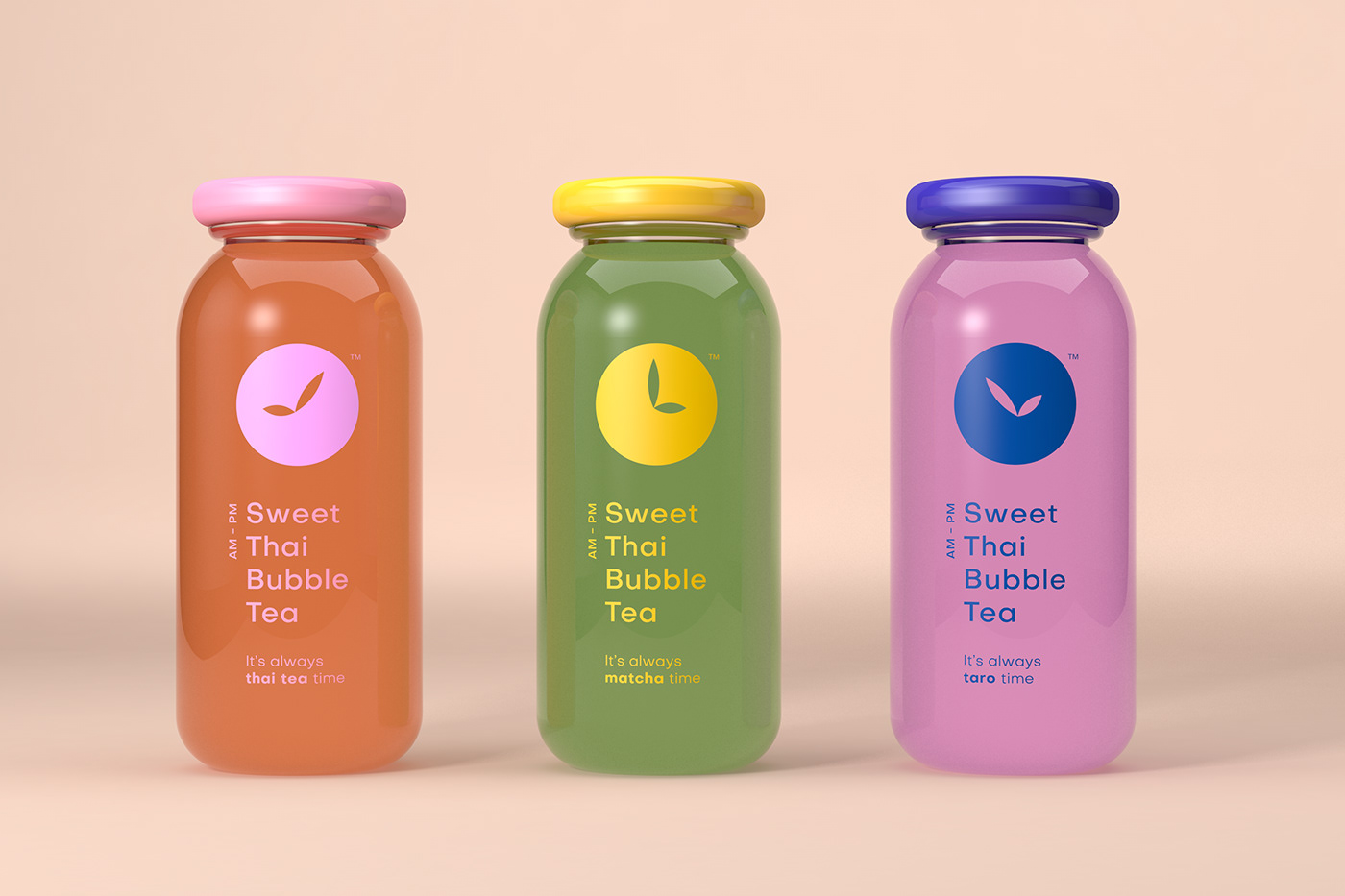 Packaging logo simple color time tea Thai minimalist