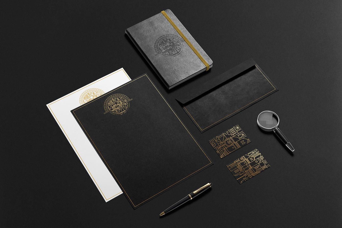 detective Corporate Identity logo gold foiling gold on black Sherlock Sherlock Holmes art deco Great Gatsby vector Fun business card