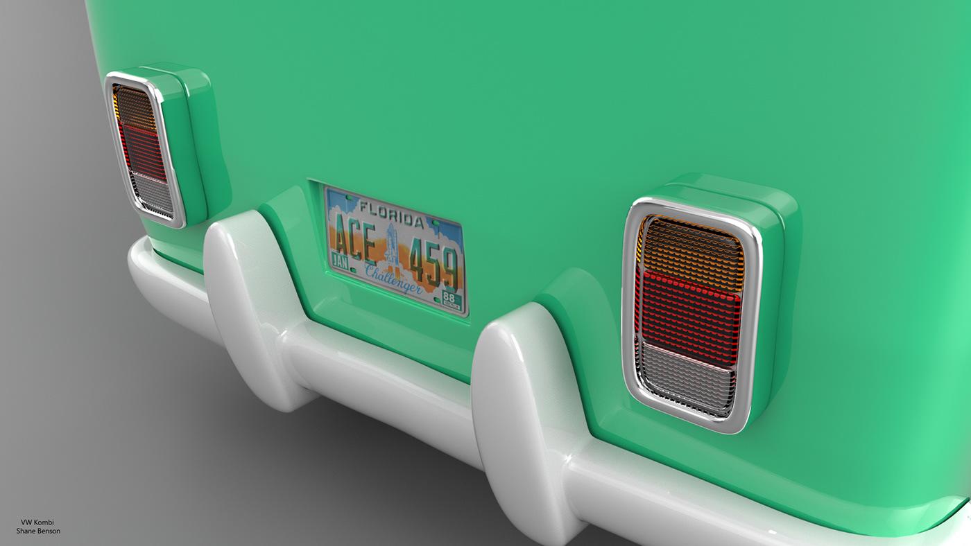 VW volkswagon kombi c4d cinema 4d 3D Quiksilver surfboard Vehicle automotive