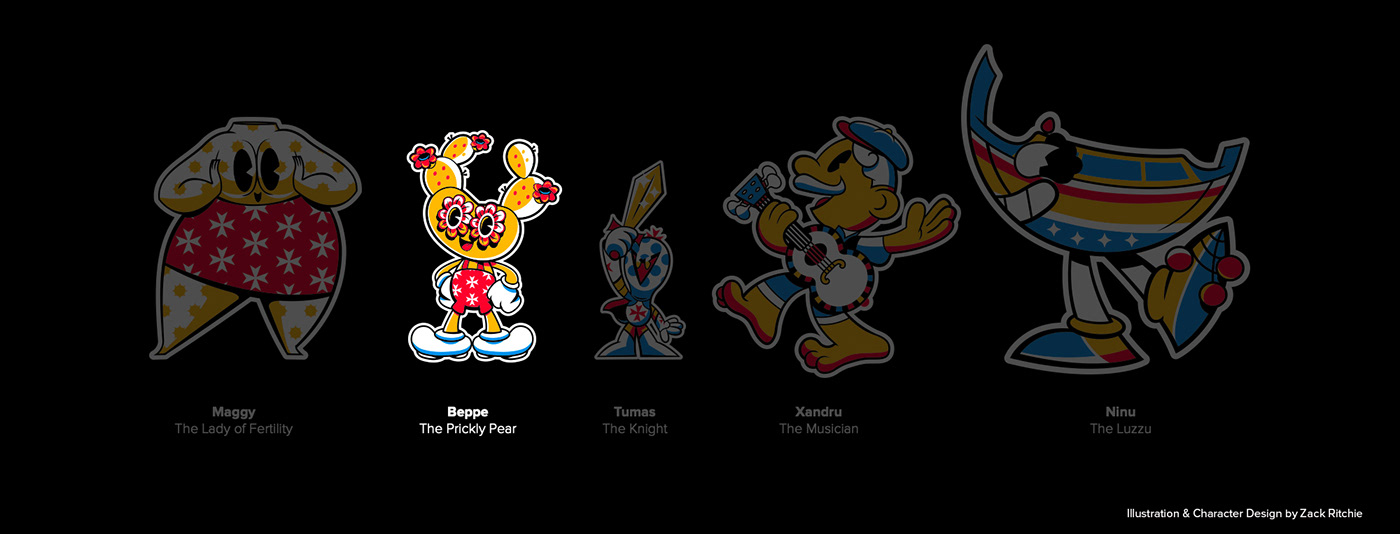 Zack Ritchie's Characters designed for his solo exhibition titled Malta's got Character.
