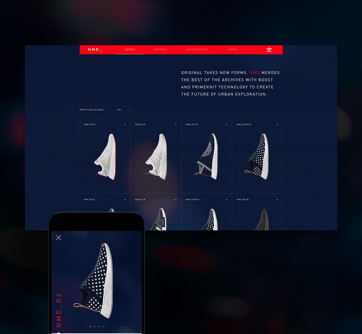 adidas shoes e-commerce UI ux digital Website Interface motion interactive