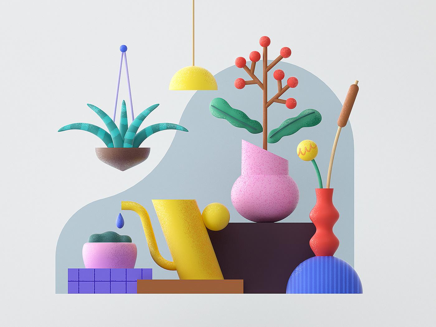 2D c4d cinema4d composition flat flower lines Nature pattern Plant
