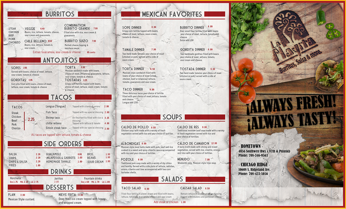 Menu design for quot la playita mexican restaurant on behance