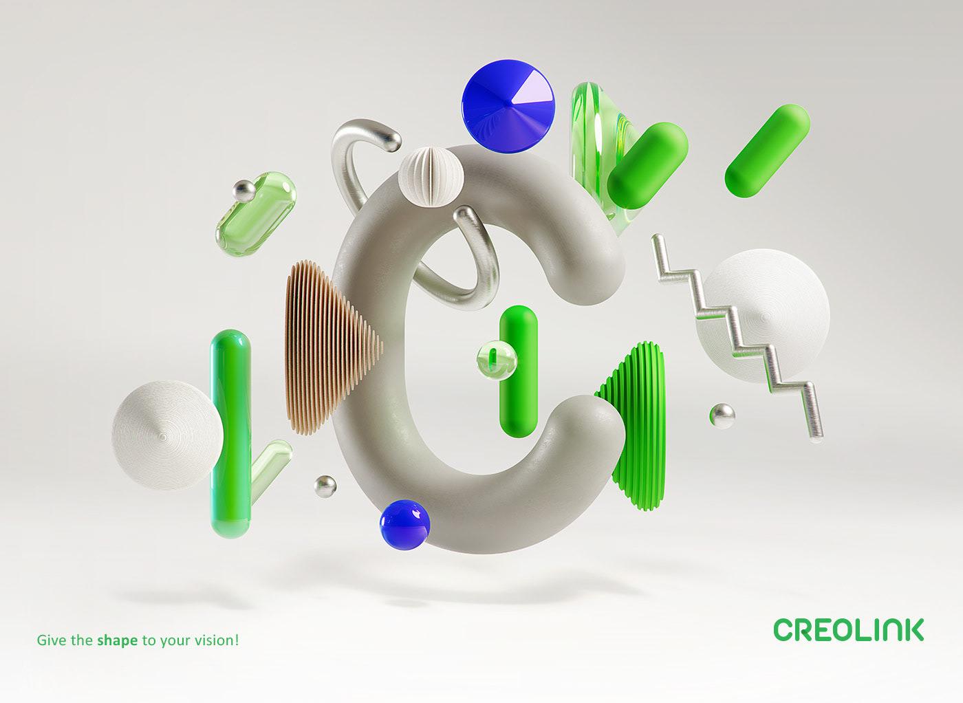 CG 3D shapes motion plastic