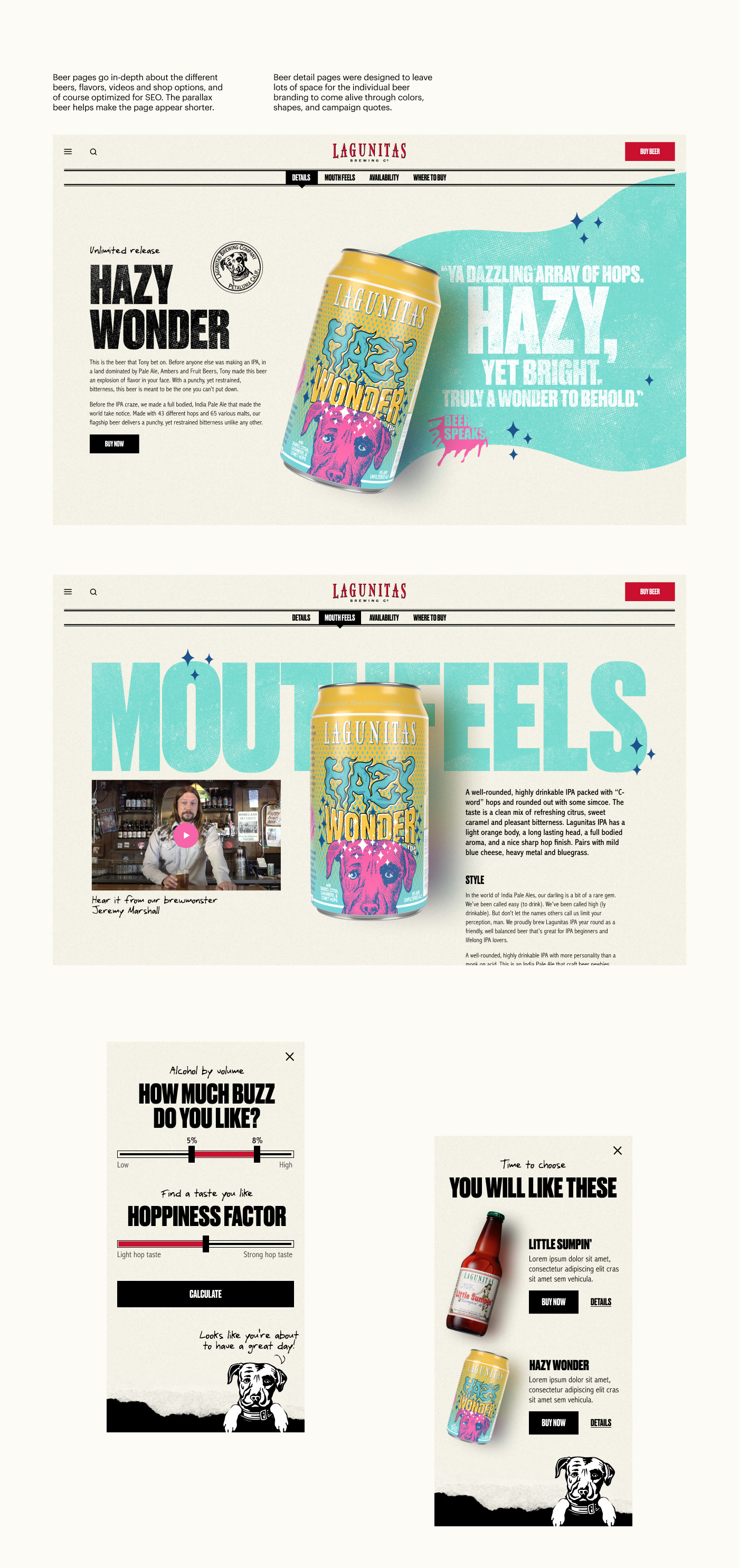 Hazy Wonder beer detail page. Colorful page with sparkles, that talks about cannabis beer.