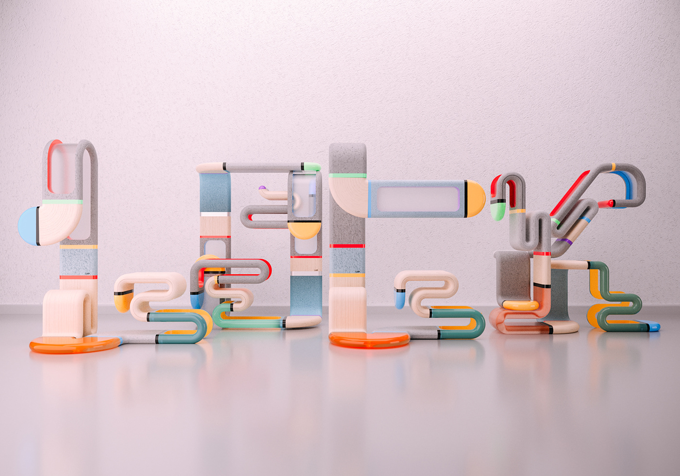 3DType,36daysoftype,letters,words,Modernart,design,poster,handdrawn,Playful,peaceful