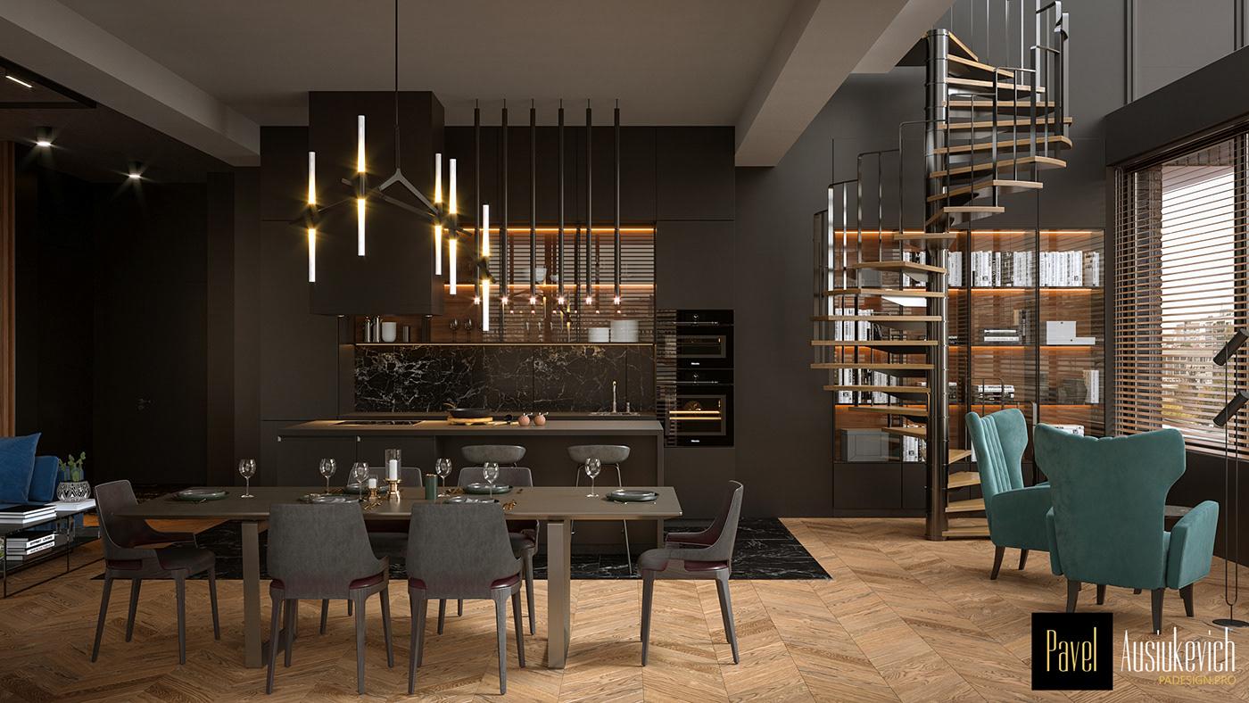 Interior interior design  furniture 3D model penthouse roof apartment