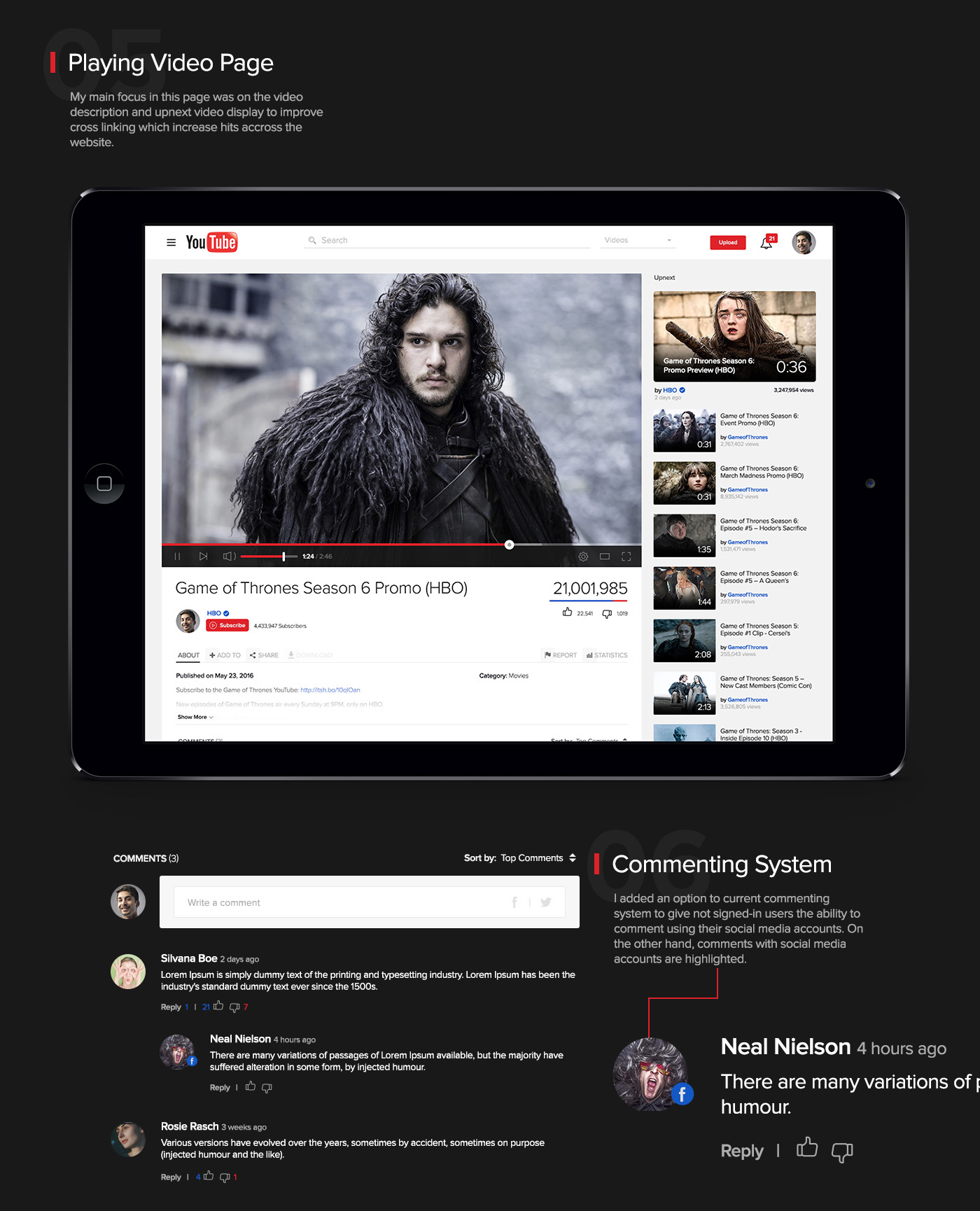 youtube you tube redesign UI ux video movie media Website concept player