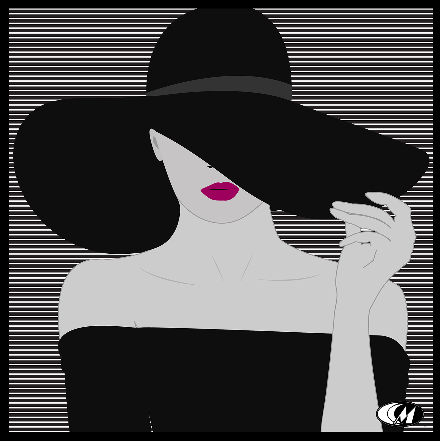 Fashion  ILLUSTRATION  Digital Art  floppy hat pink lips series vector minimalist
