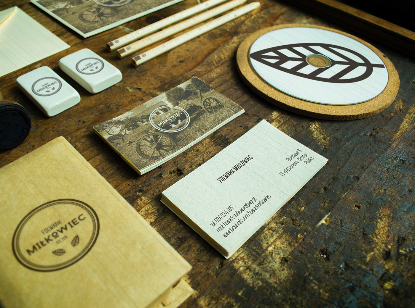 folwark mikłowiec Damian Chmiel logo Hipster Corporate Identity Stationery print old style vintage wood ID