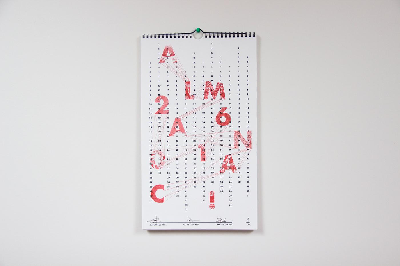 collage almanac Project Riso print ILLUSTRATION  calendar year Risoprint