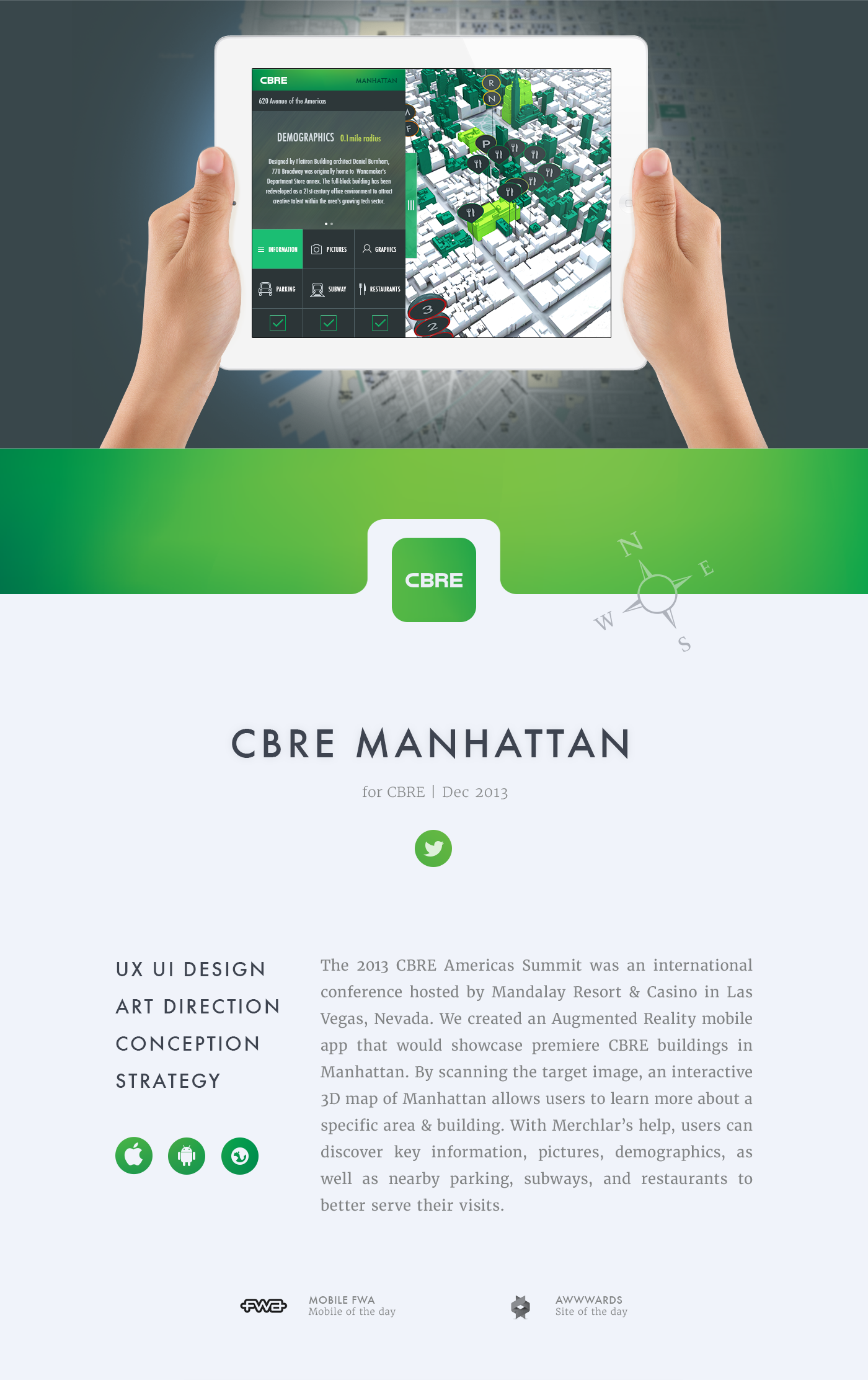 CBRE real estate iPad augmented reality Merchlar Manhattan building virtual product design 3D map Technology Mobile app New York