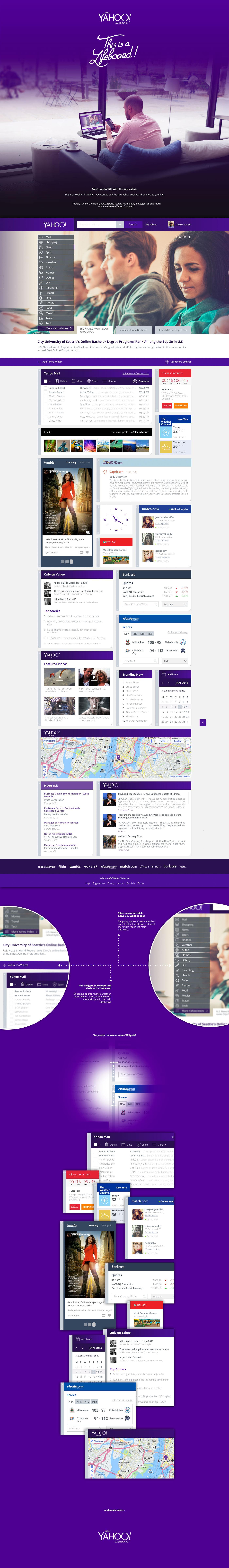 dashboard portal news wall main purple dark life live social interactive innovation media inspiration user