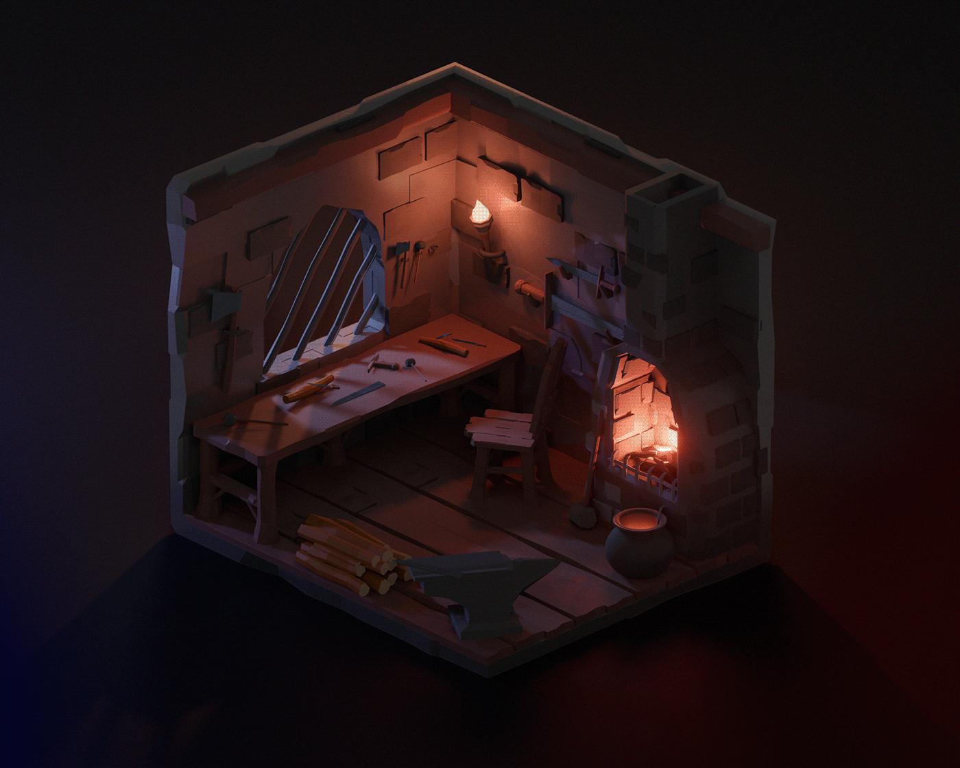 art blender Castle gameart Minimalism