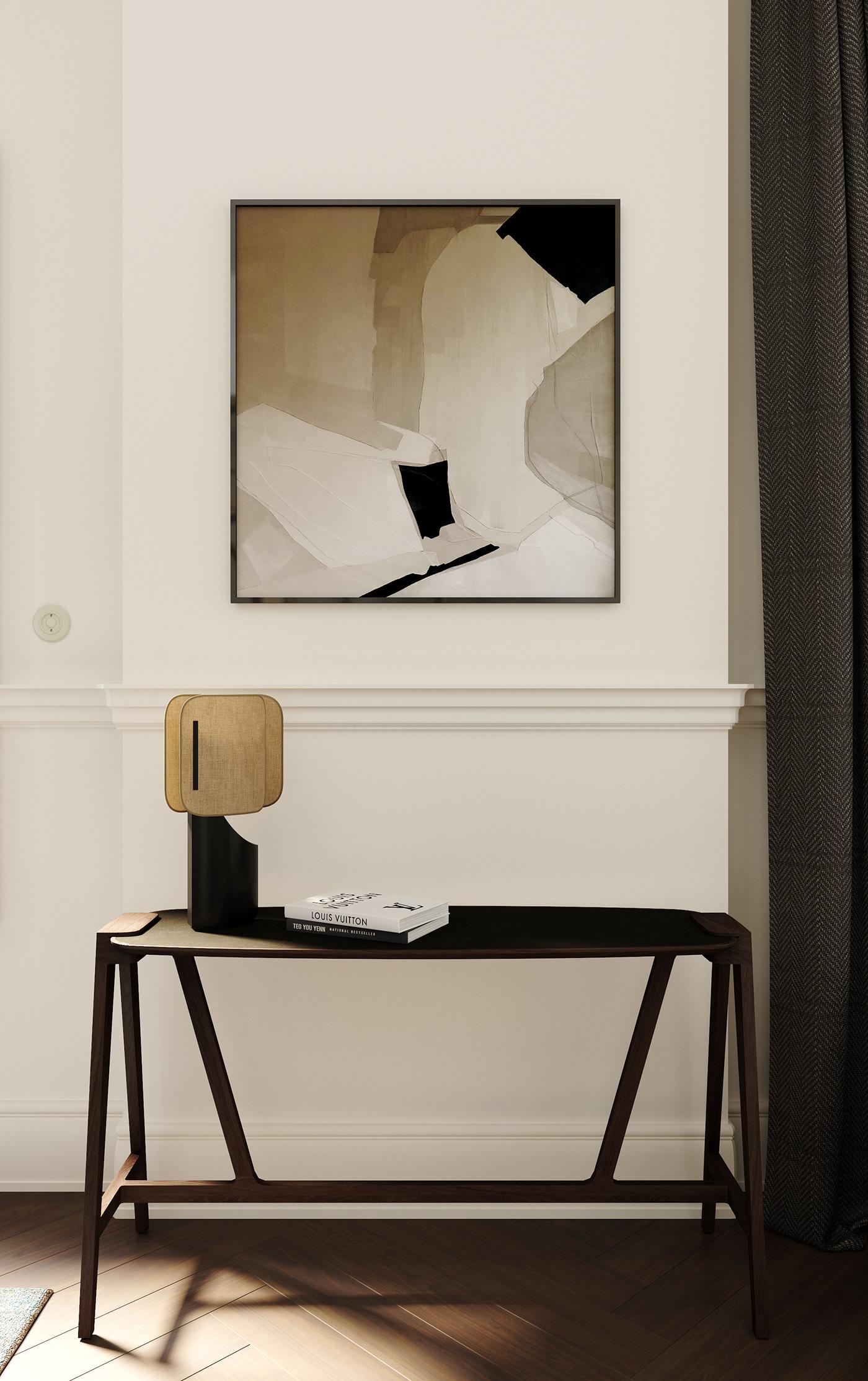 archviz dining room french interior interior design  kitchen design living room midcentury parisian Render visualization