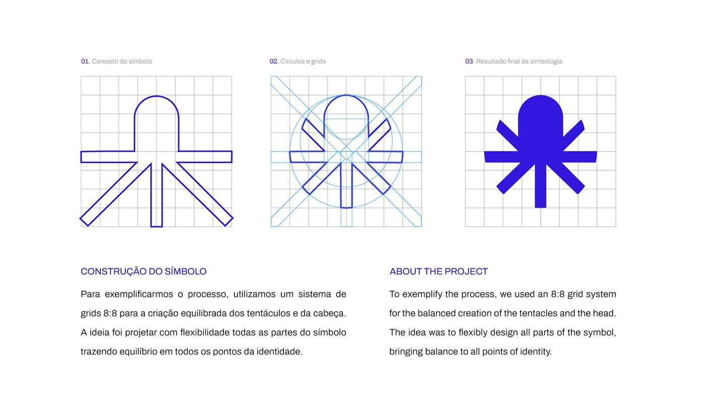 Fillipe Luis identidade visual logo logo grid Logomarca Logotipo octopus polvo polvo criativo Logo Grid Systems