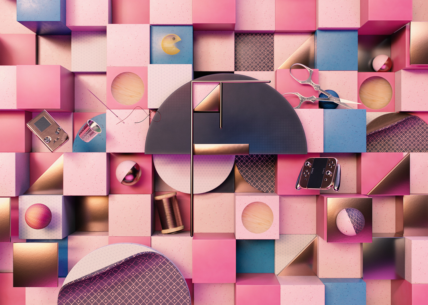 36daysoftype cinema4d dailyrender geom geometric inspiration letters Render type typography
