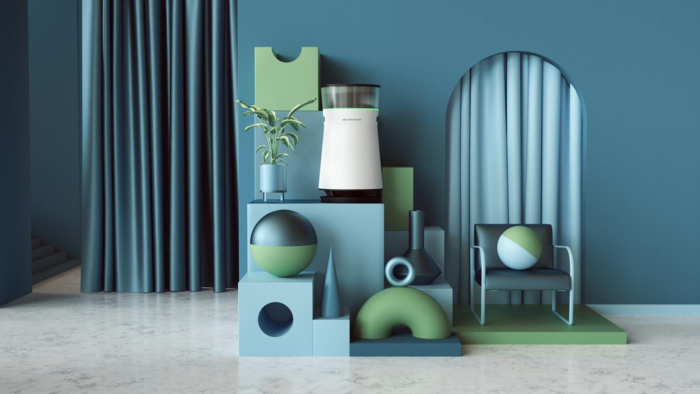 lg tech 3D c4d cinema4d Interior abstract colors modern setdesign