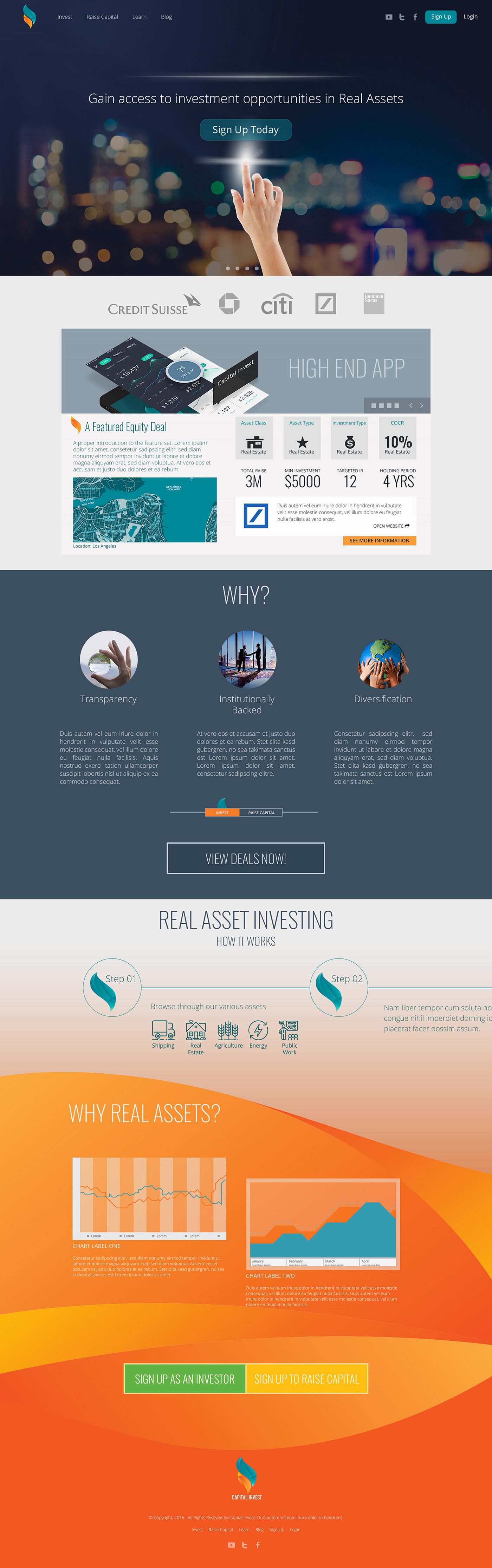 Investment landing page Mockup wireframe