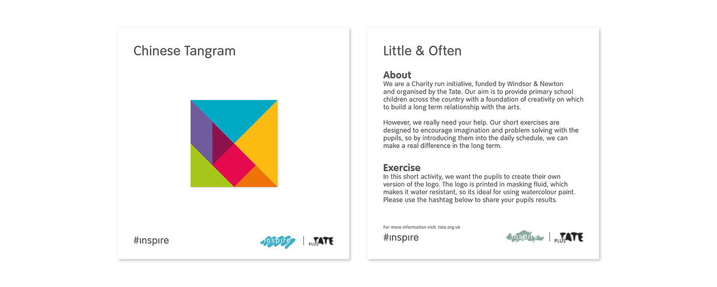 Tate Inspire Initiative Modern Gallery Exhibition Education Primary School social media instagram Workshop Program website mobile site Art Creativity Inspiration Culture create activities Flexible Adaptable Indentity Poster Flyer Artist Branding Logo Typeface Typography Paint Brush GIF minimal simple colour yellow white lesson plan advertising