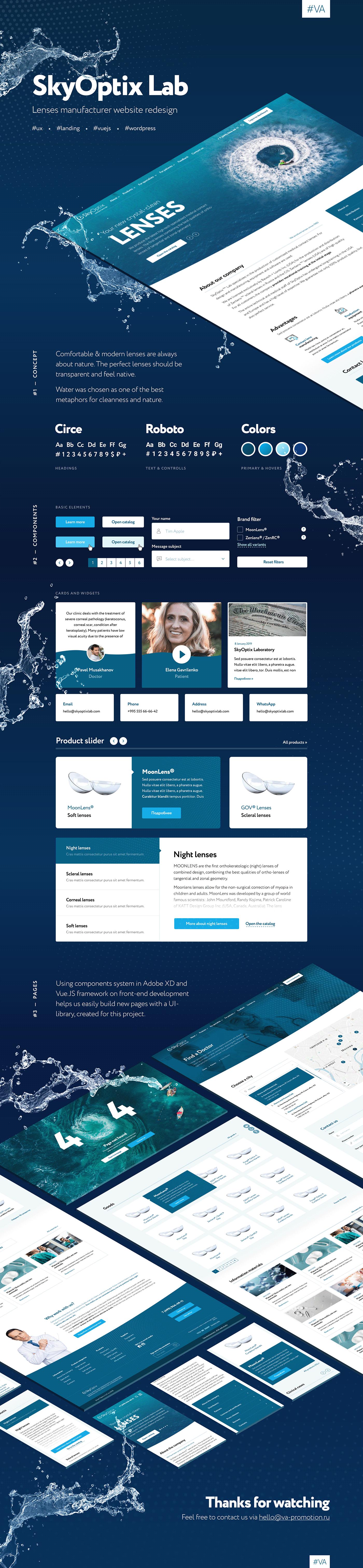 medical Website design redesign lens manufacturer