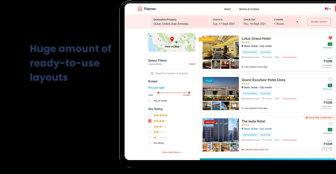 Booking Form hotel booking hotels template Travel Website ui kit webapp xD