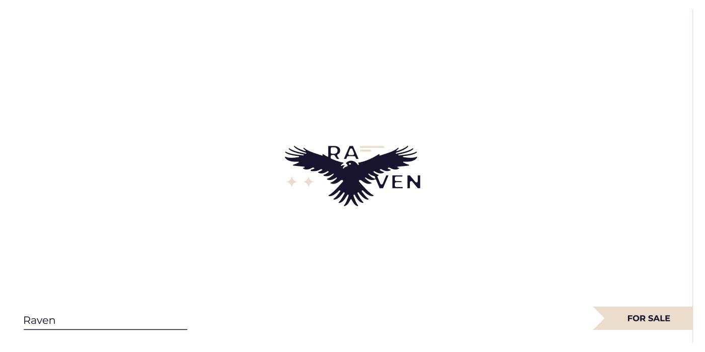 Negative space Raven logo.