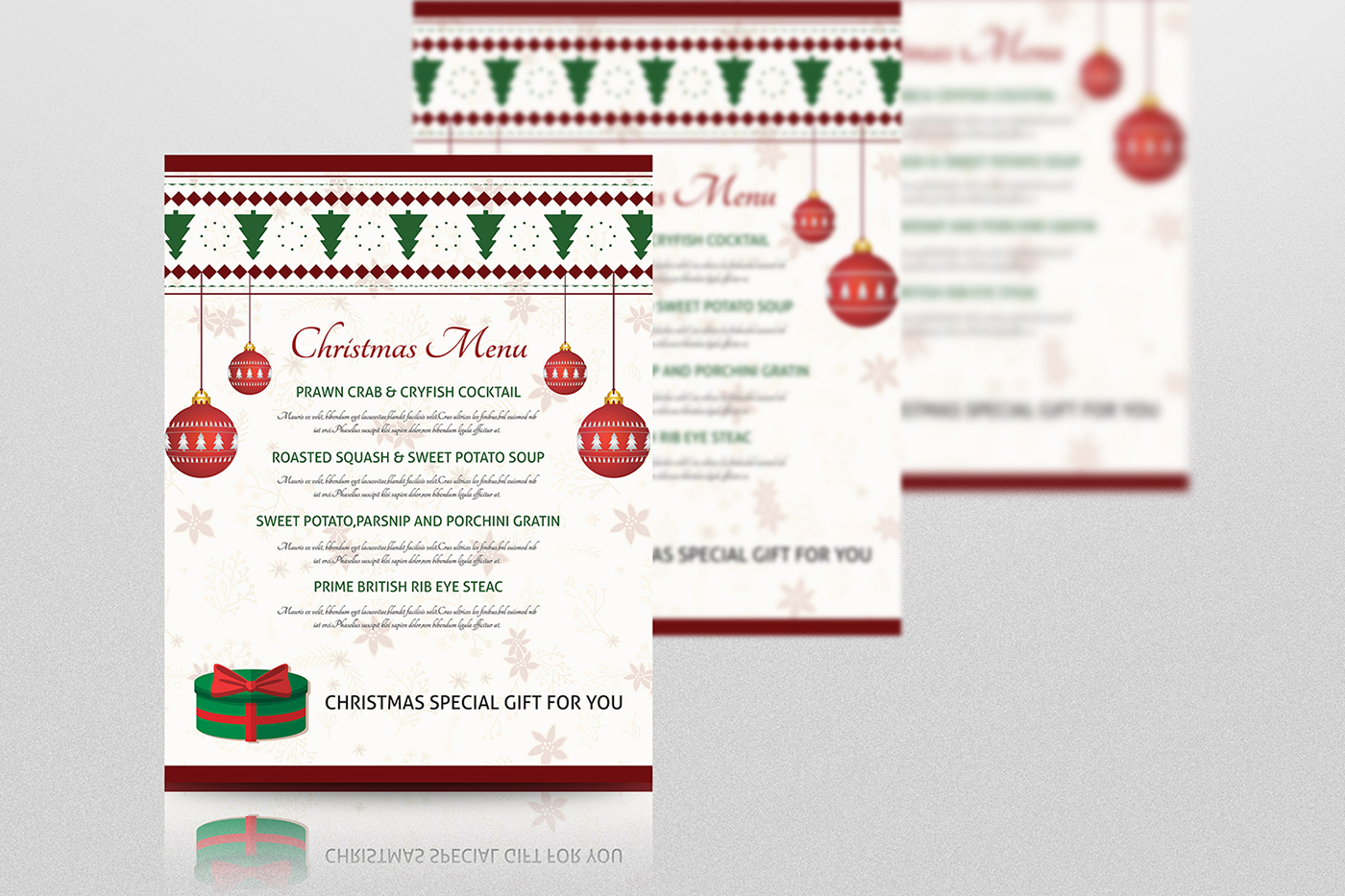 christmas party menu template on behance