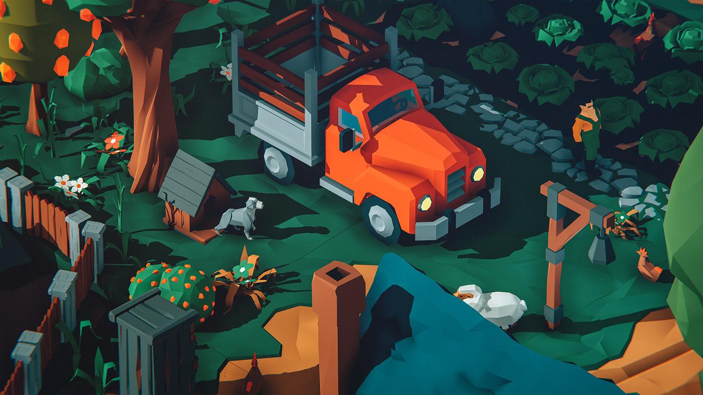 unity3D game design  lowpoly village blender mobile ios concept art gamedev farm