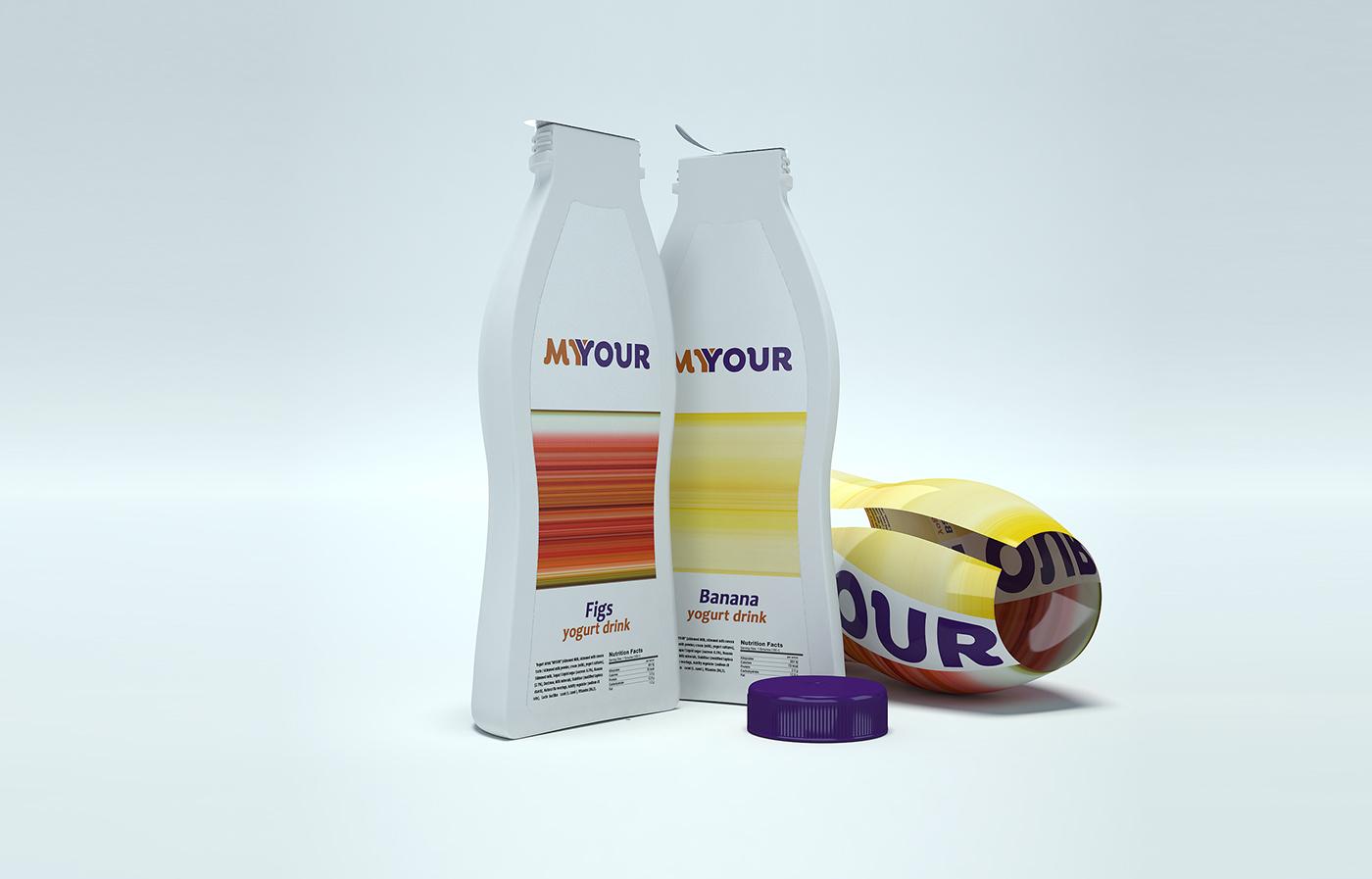 bottle Packaging yogurt concept Fruit share