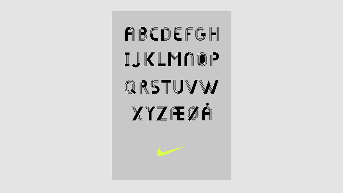 typography   Nike poster store font motion design norway type shop
