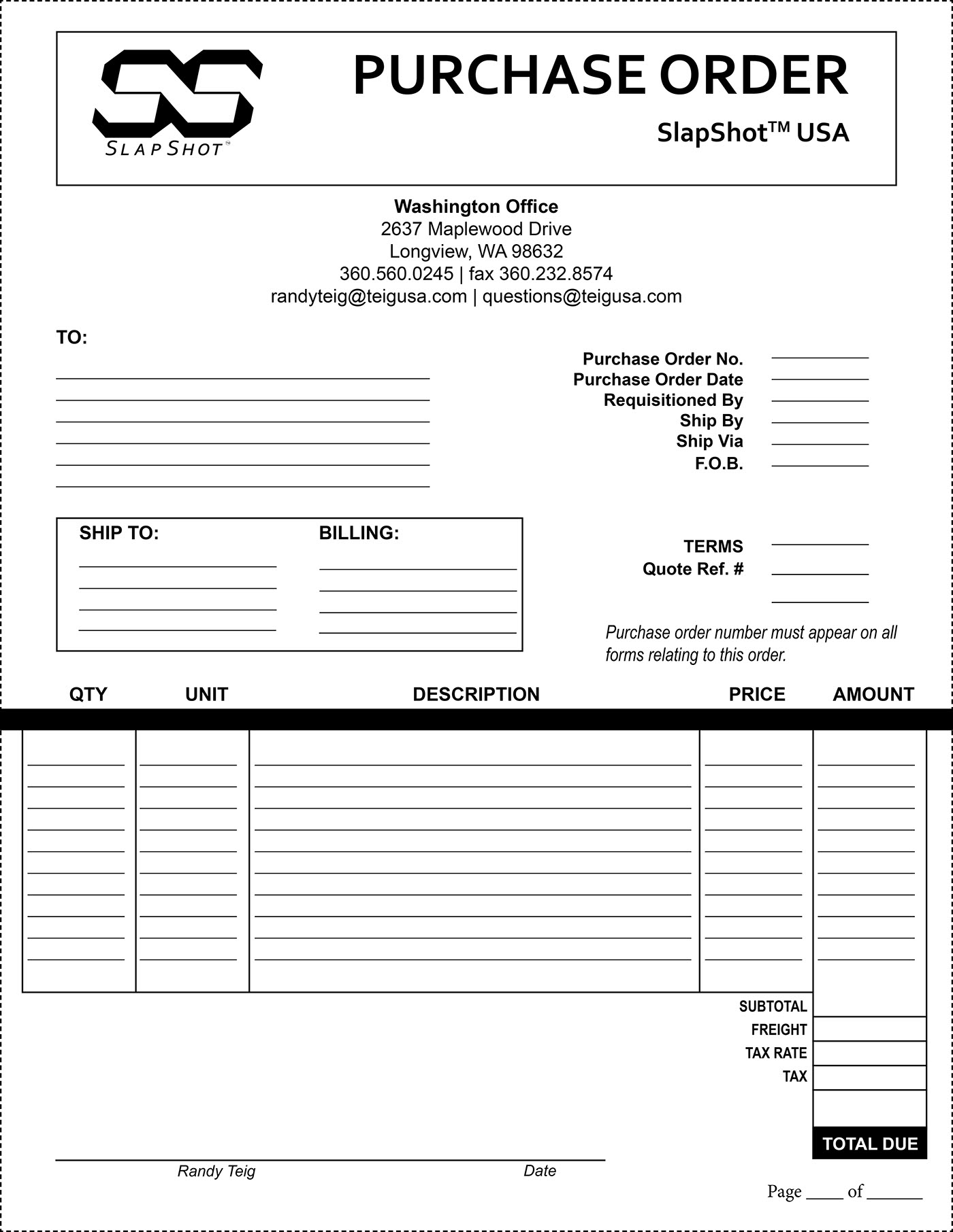 edit a purchase order template Purchase Order Template on Behance