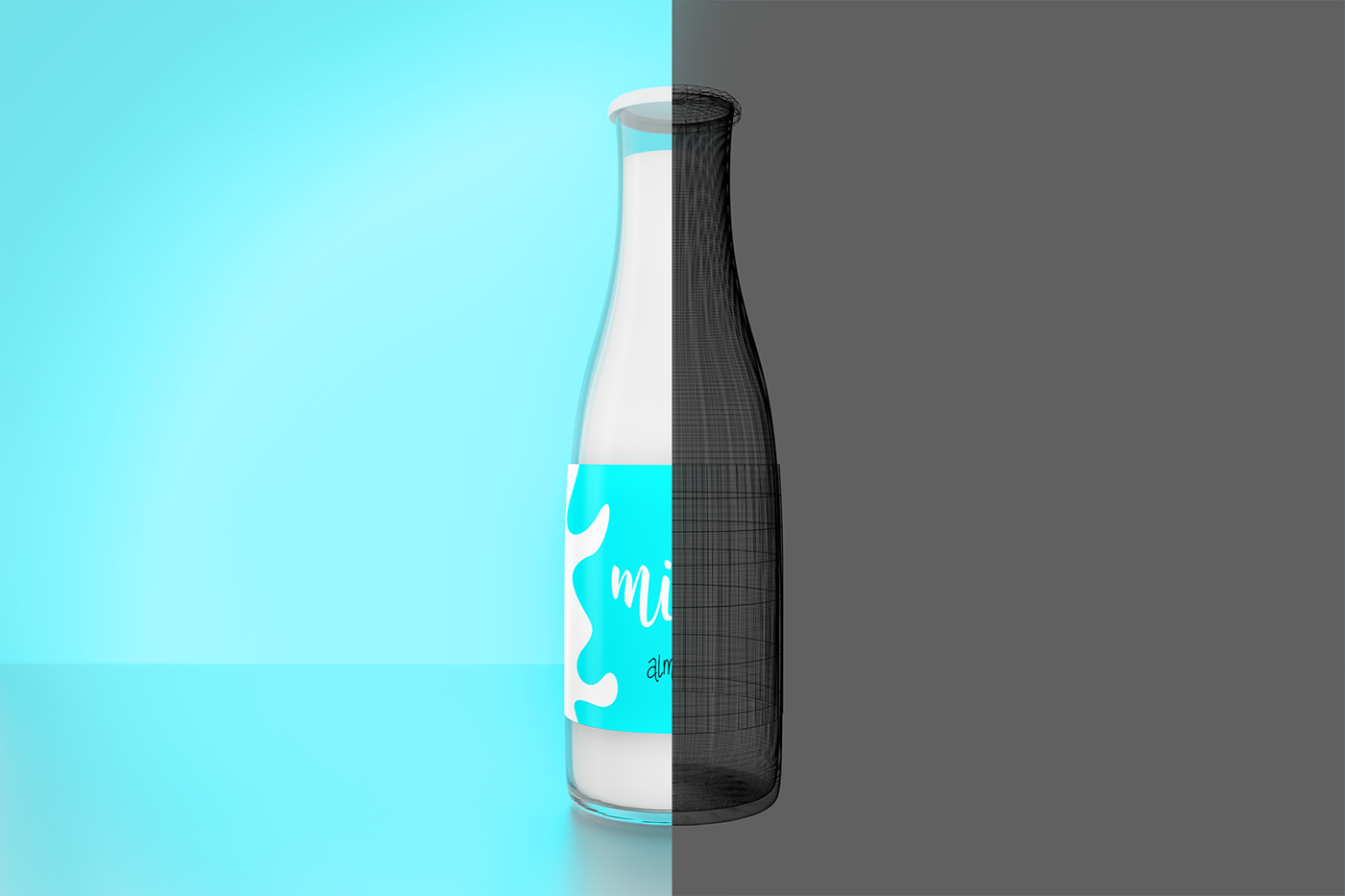 milk bottle Mockup pistachio milk download free 3D blender