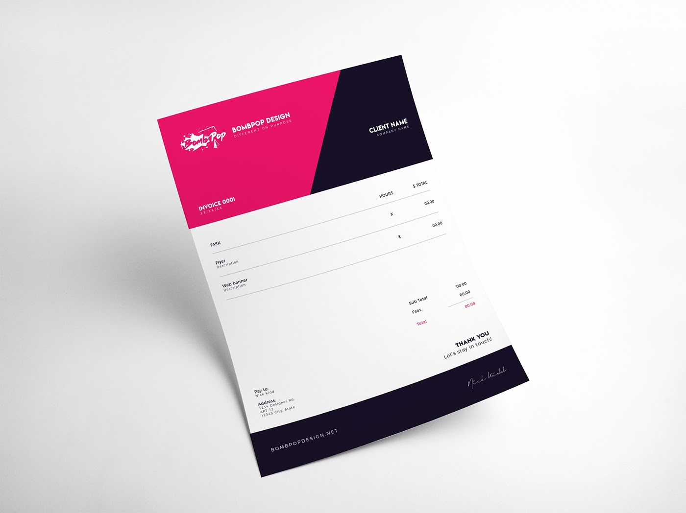 Free Invoice Templates On Behance