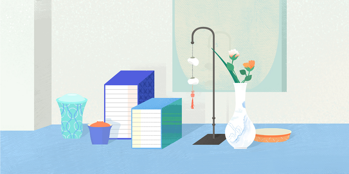 color editorial design  graphic graphic design  illust ILLUSTRATION  Korea Space  still life tradition