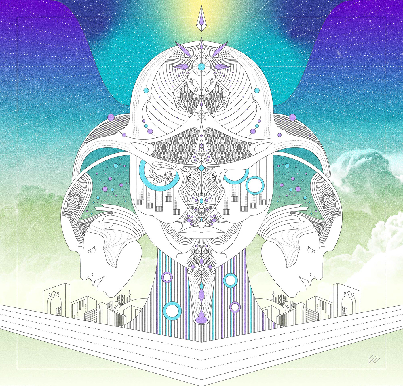 ILLUSTRATION  surrealism Line Work psychedelic Colourful  dream Daydream