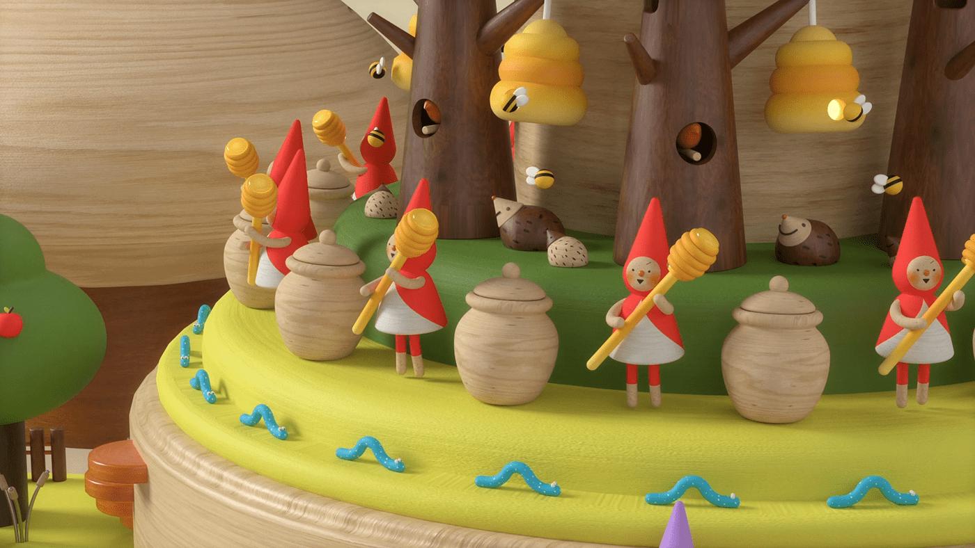 3D 3d art 3D model Low Poly Music Box wood wooden toys 3d motion motion graphics  zoetrope