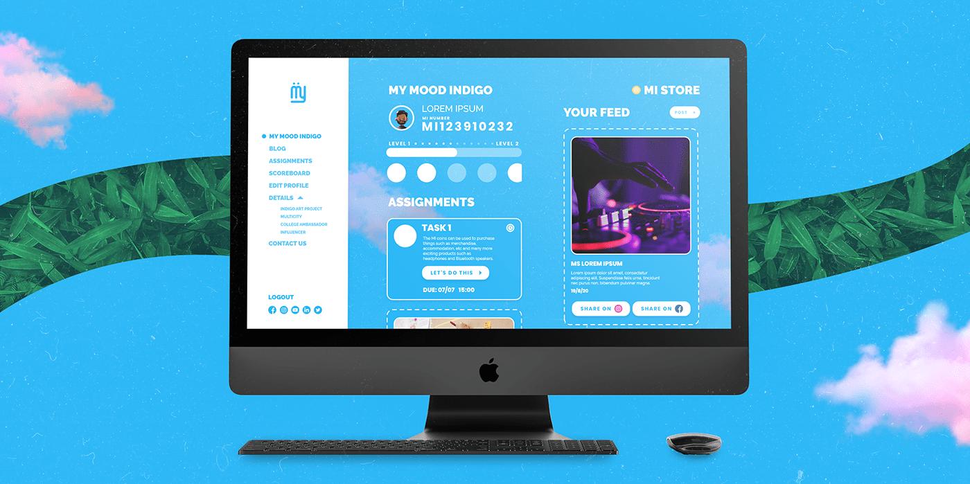 graphic design  iit Bombay interaction MOOD Indigo motion design Prototyping UI/UX Website