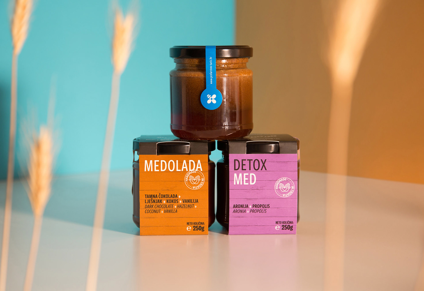 Honey package design, vibrant colors