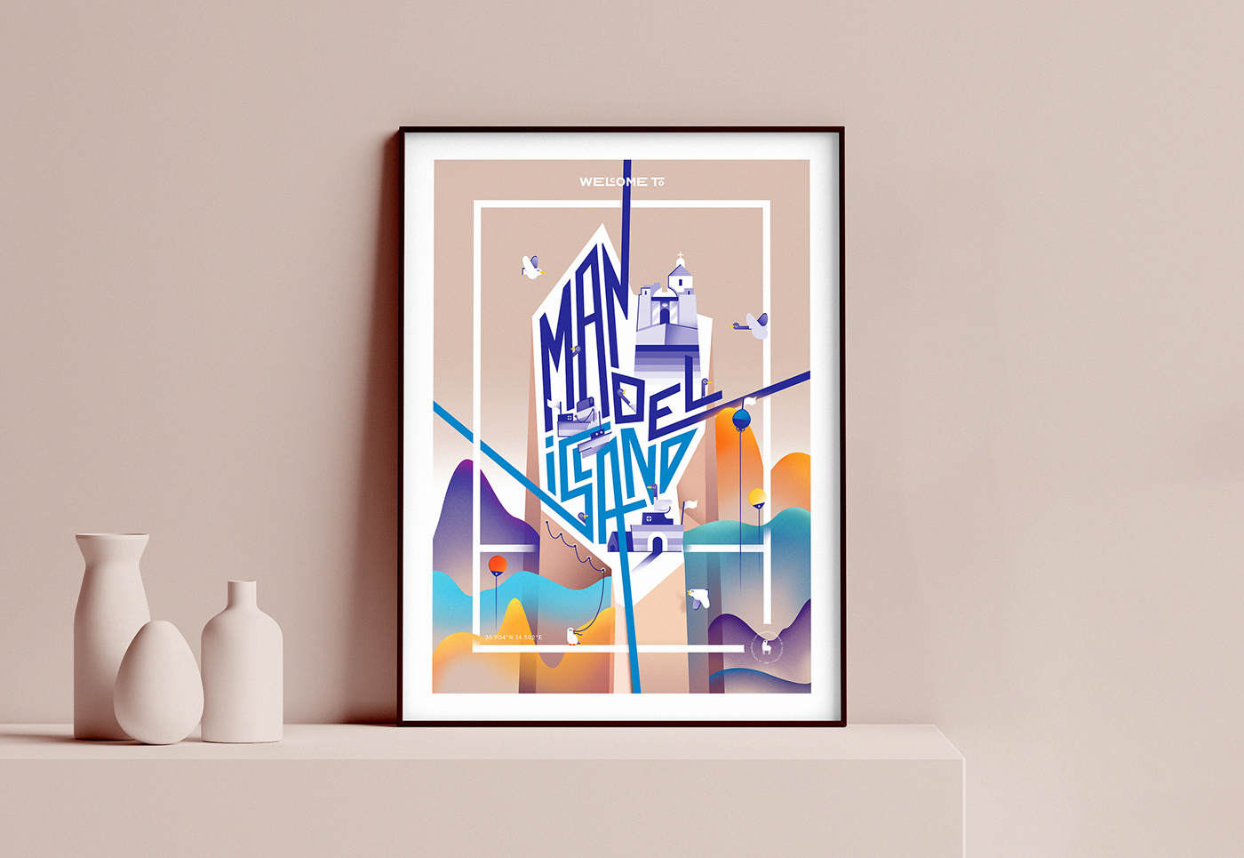 map typography   poster malta buoy bird Magic   fort charity Valletta 2018