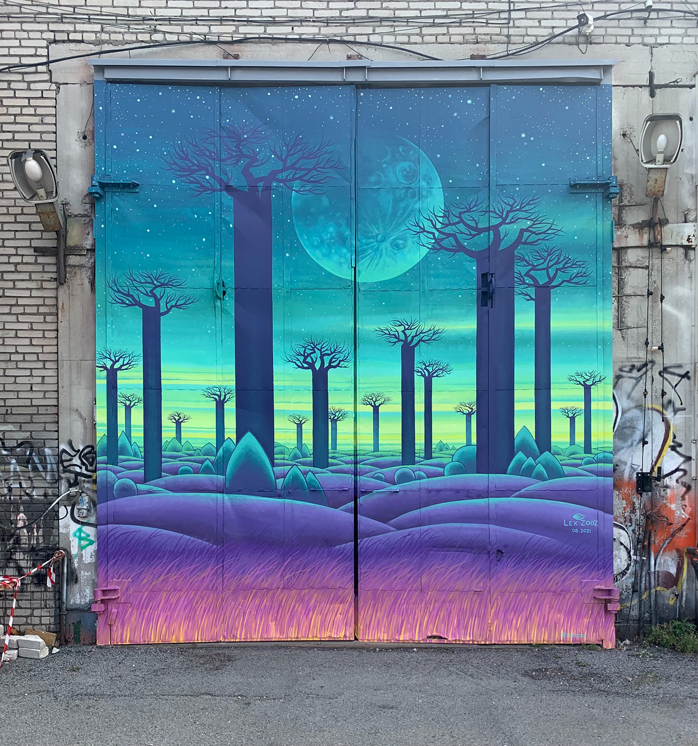 Afrika baobab contemporaryart moon Mural night painting   streetart Urbanart visualart