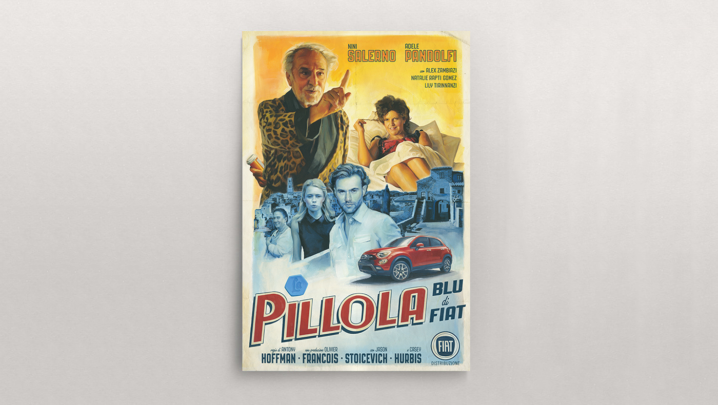 poster fiat Blue Pill print typography   ILLUSTRATION  500X