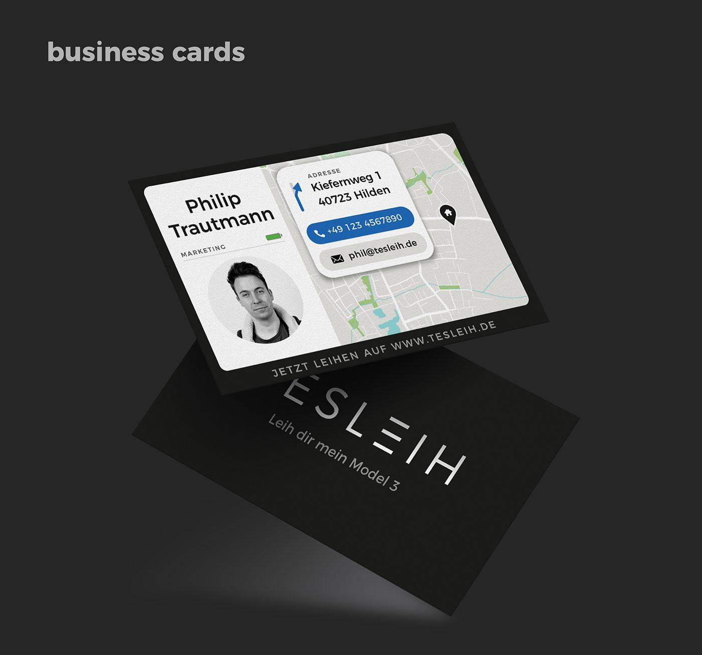 business car card corporate design electric Model 3 Rent service tesla
