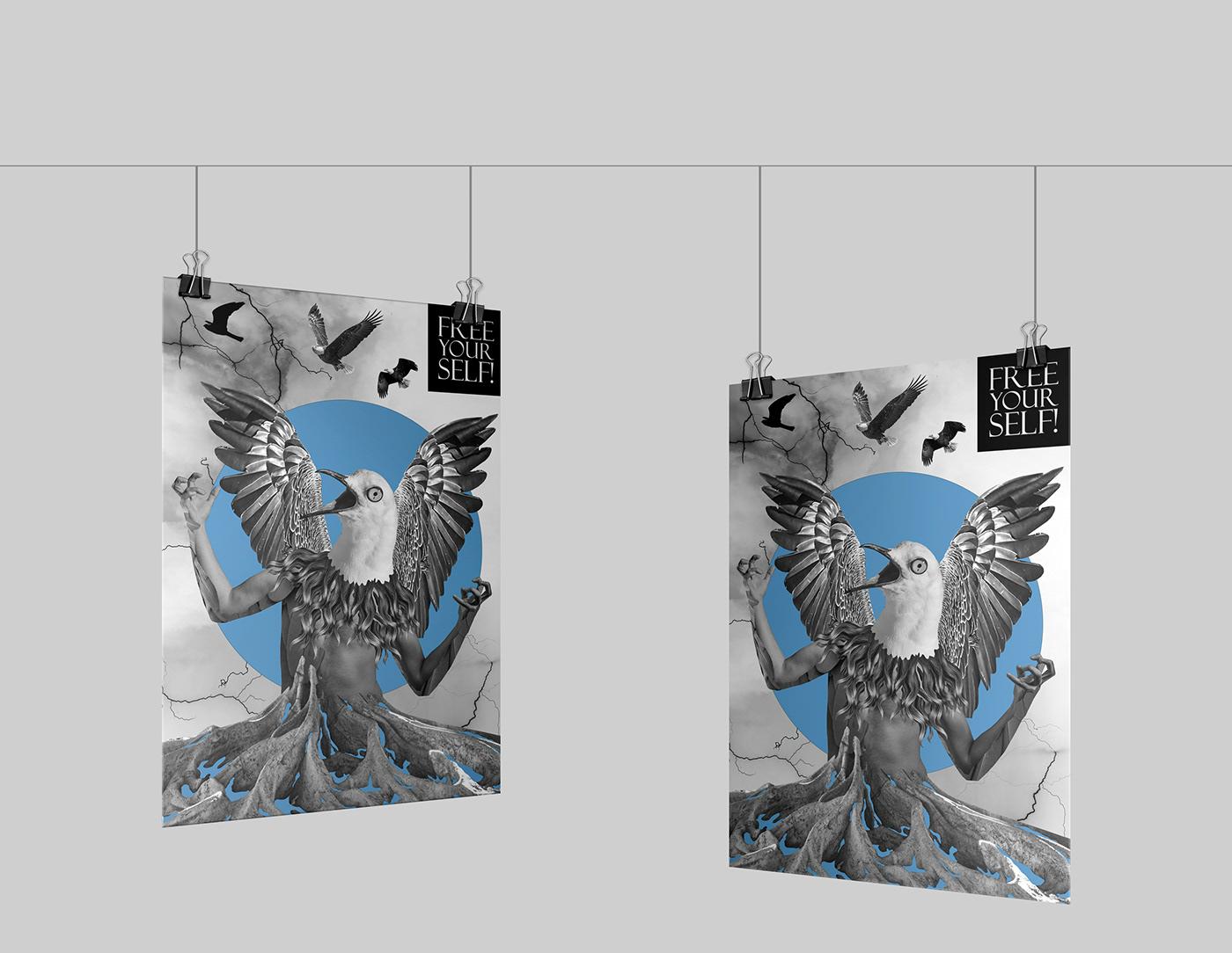 art Character collage graphic art ILLUSTRATION  Poster Design print conceptual Digital Art  postcard