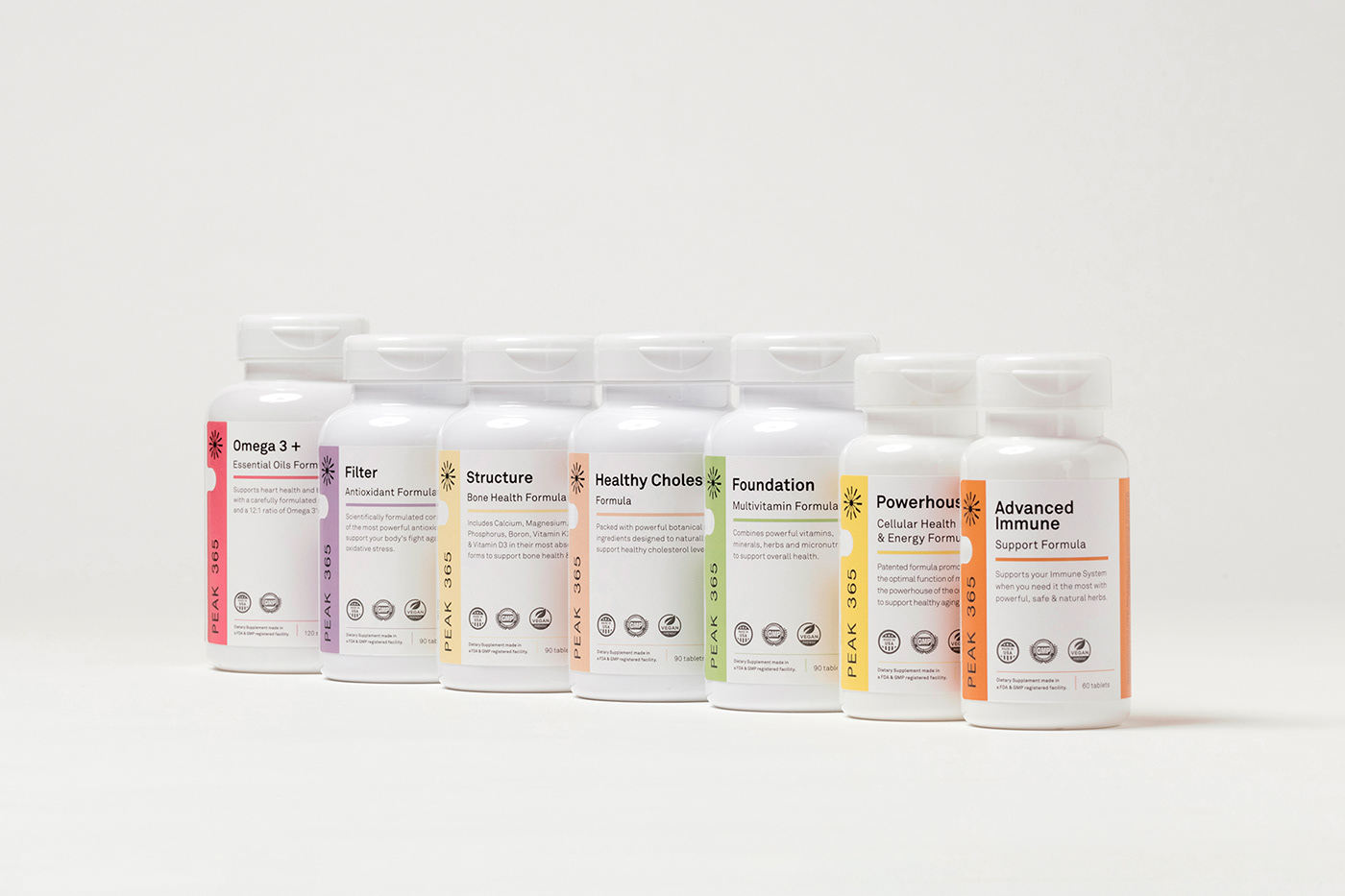 branding  Color Code Health minimalist nutrition Packaging pills science scientific supplements