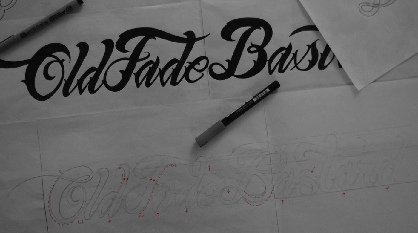 old fade bastard barbershop lettering monogram black gold Hipster vintage Classic pattern tattoo beard grunge rustic