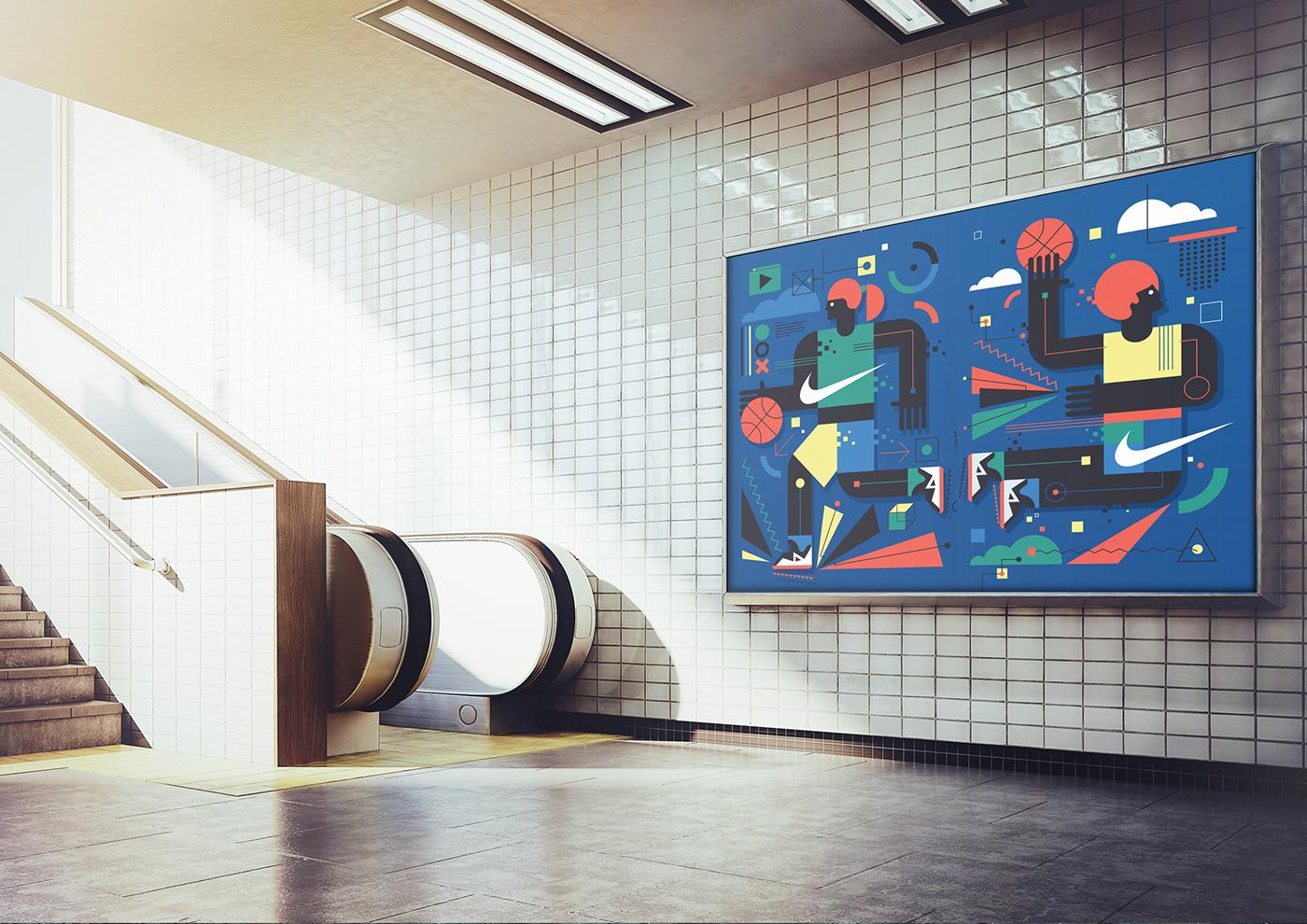 Nike wall mural on behance for Basketball court wall mural