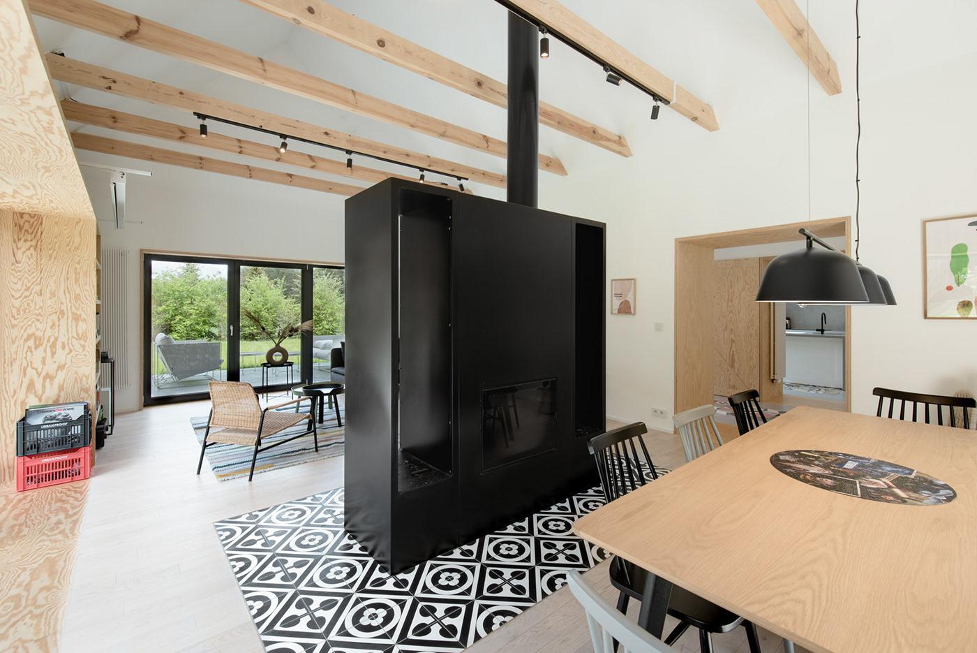 forest house Interior living modelina architekci poland wood