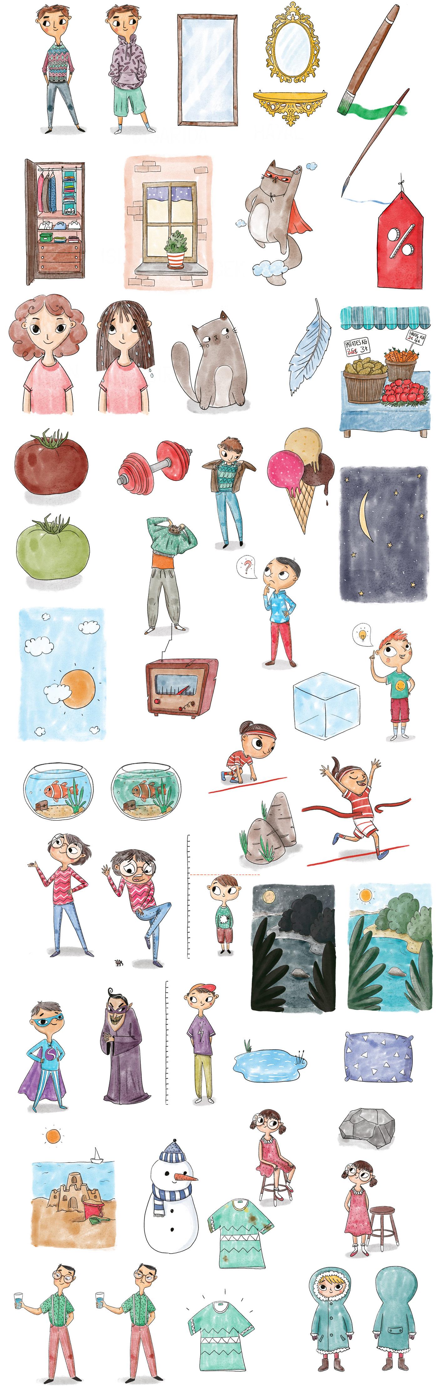 flash card childrens books cards hand drawn childish kid art kids